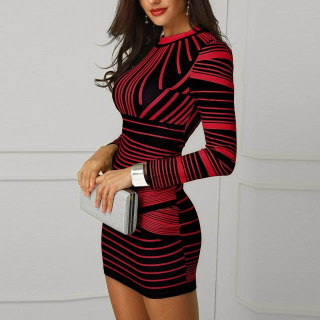 Women's Sexy Striped Printed Zipper Bodycon Dress