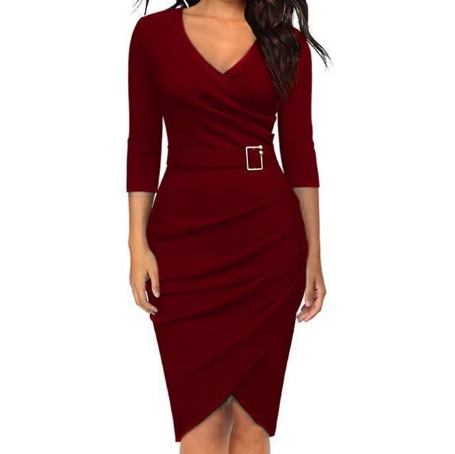 Women's Deep V Neck Long Sleeve Dress