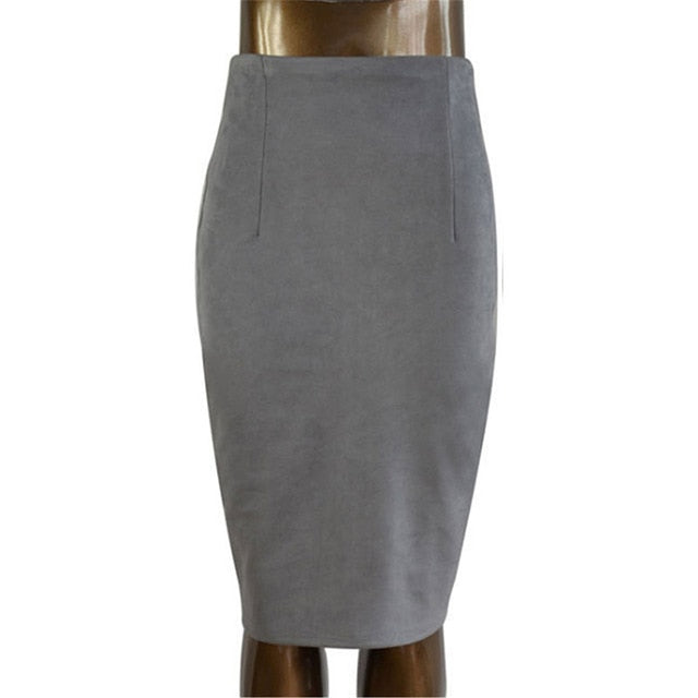 Women's Suede Solid Pencil Skirt