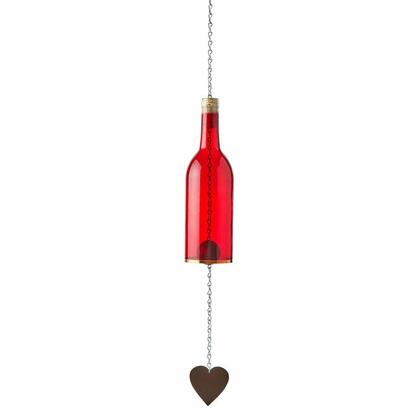 Wine Bottle Wind Chime - Red