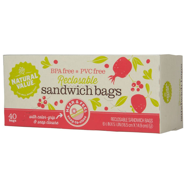 Reclosable Sandwich Bags - 40 Count
