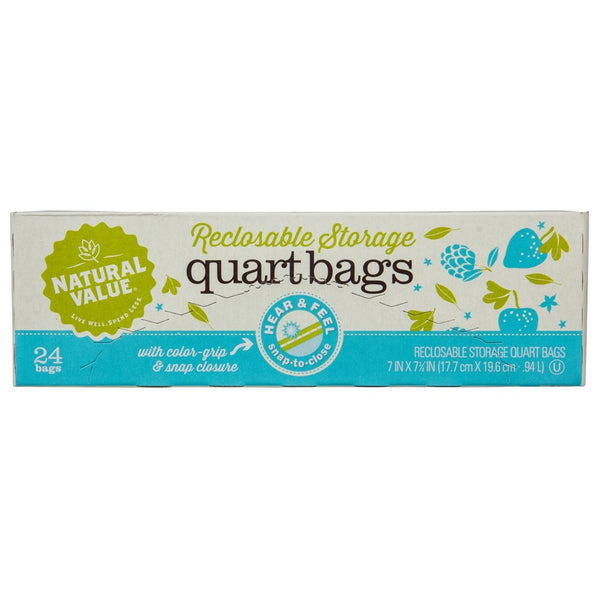 Quart Storage Recloseable Bags - 24 Count