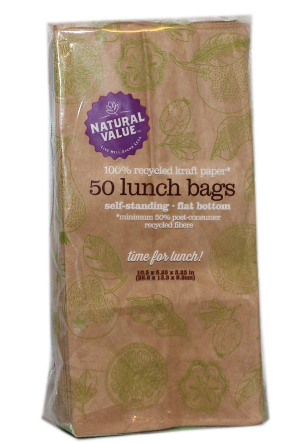 Recycled Brown Paper Lunch Bags - 50 Count