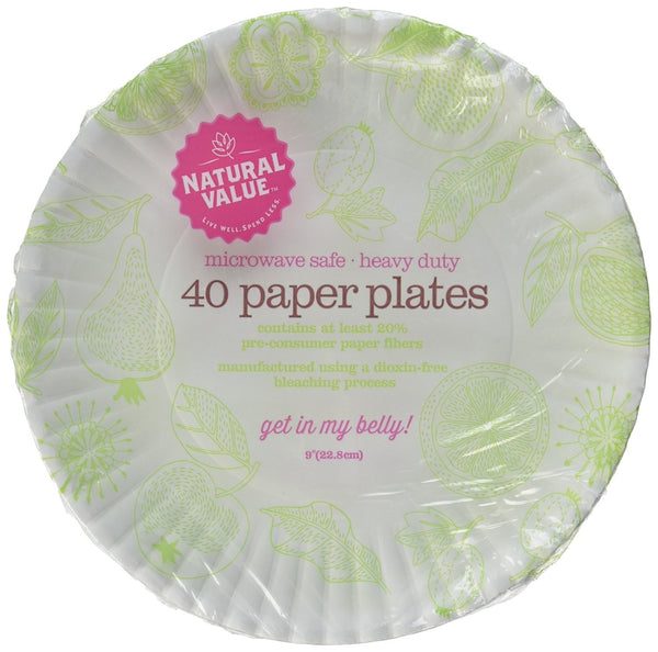 Recycled Paper Plates - 9 Inch - 40 Count
