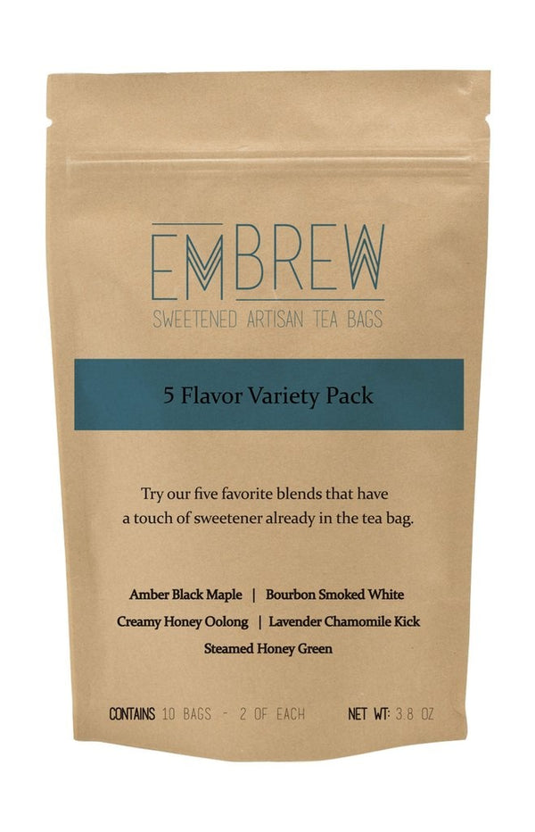 5 Flavor Variety Pack of Sweetened Artisan Tea Bags - 10 Bags