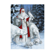 Load image into Gallery viewer, Christmas Santa Claus Animal Snow Scene 5D Diamond DIY Painting Craft Kit