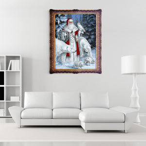 Christmas Santa Claus Animal Snow Scene 5D Diamond DIY Painting Craft Kit