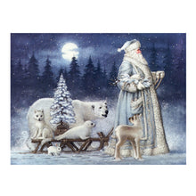 Load image into Gallery viewer, Christmas Santa Claus Bear Snow Scene Drill Diamond Painting 40X30CM(Canvas)