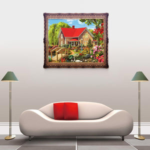 Garden House Round Drill Diamond Painting 40X30CM(Canvas)