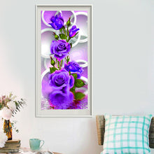 Load image into Gallery viewer, Purple Rose Flower Round Drill Diamond Painting 30X55CM(Canvas)