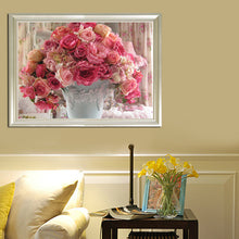 Load image into Gallery viewer, Rose Flowerpot Round Drill Diamond Painting 40X30CM(Canvas)