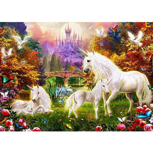 Horses Round Drill Diamond Painting 40X30CM(Canvas)