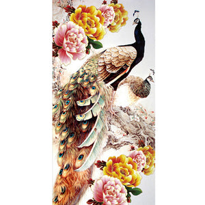 Peacock Round Drill Diamond Painting 30X55CM(Canvas)