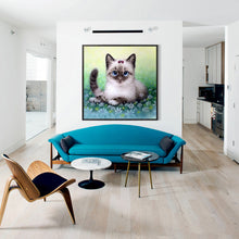 Load image into Gallery viewer, Cat Round Drill Diamond Painting 30X30CM(Canvas)