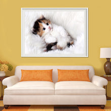 Load image into Gallery viewer, White Adorable Cat Round Drill Diamond Painting 40X30CM(Canvas)