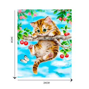 Cartoon Animal Cat Round Drill Diamond Painting 30X40CM(Canvas)
