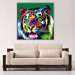 Colorful Tiger Round Drill Diamond Painting 30X30CM(Canvas)