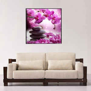 Phalaenopsis Stone Round Drill Diamond Painting 30X30CM(Canvas)