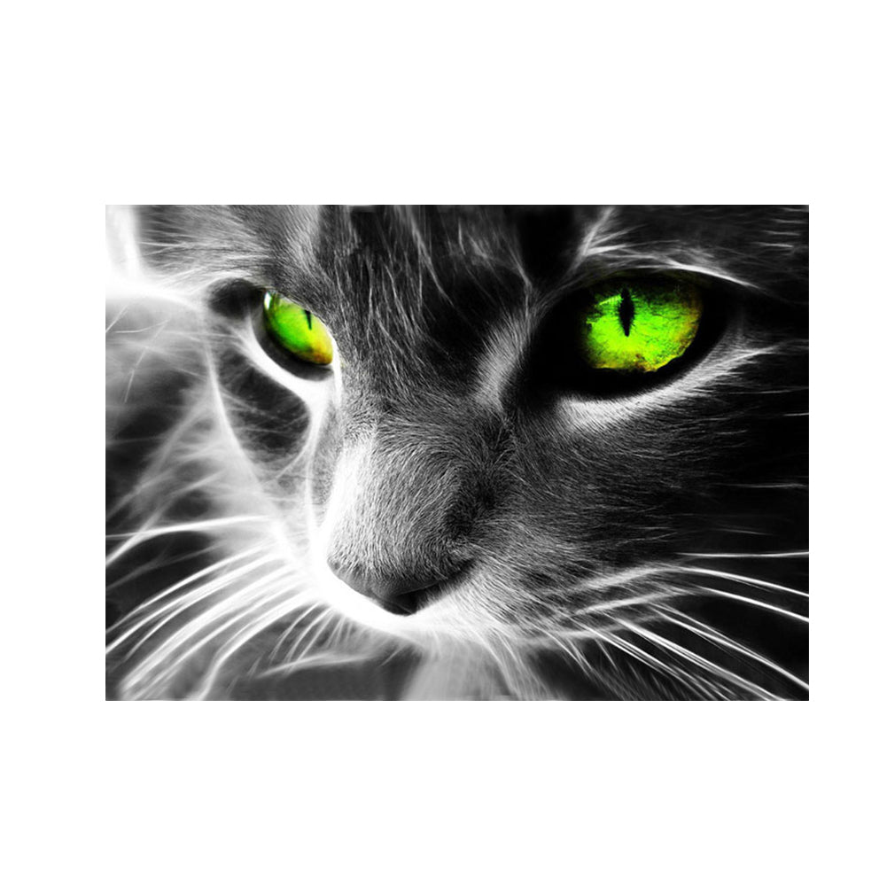 Green Eye Cat Round Drill Diamond Painting 40X30CM(Canvas)