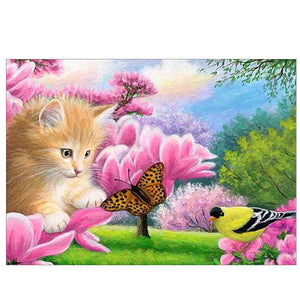 Butterfly Cat Round Drill Diamond Painting 40X30CM(Canvas)