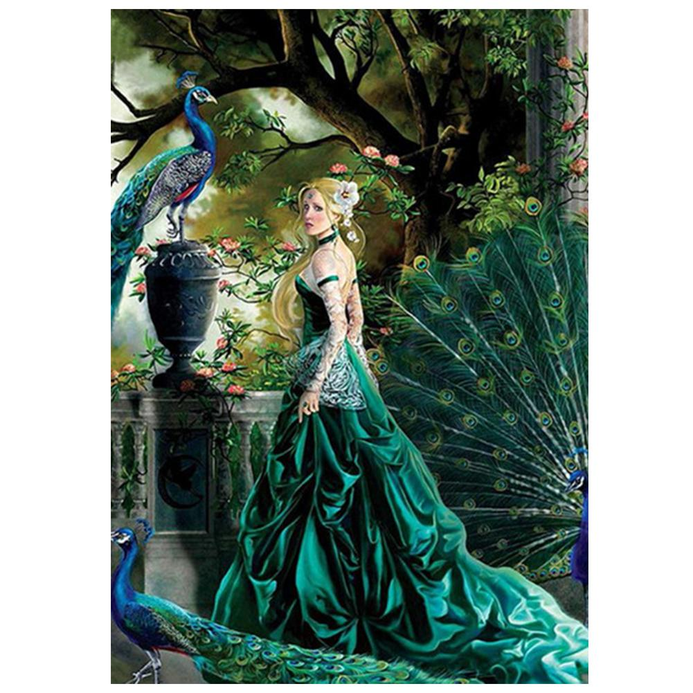 Peacock Beauty Round Drill Diamond Painting 40X30CM(Canvas)