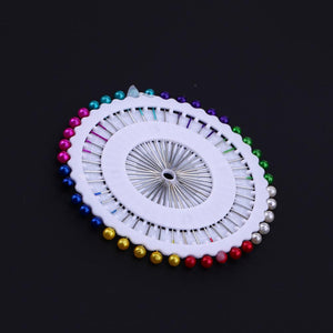 480pcs 1.46in Round Pearl Straight Head Pins Embroidery Sewing Pins(Color)