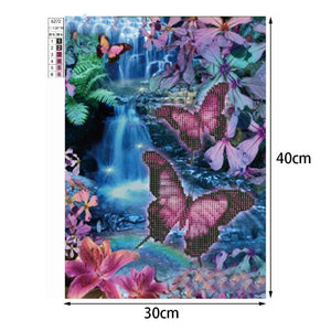 Colorful Butterfly Round Drill Diamond Painting 40X30CM(Canvas)