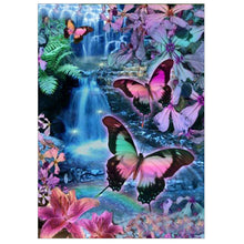 Load image into Gallery viewer, Colorful Butterfly Round Drill Diamond Painting 40X30CM(Canvas)