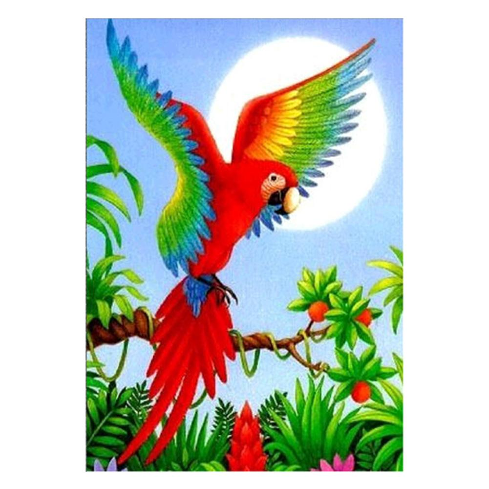 Flower Parrot Part Drill Diamond Painting 26X35CM(Canvas)