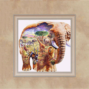 Elephant Part Drill Diamond Painting 30X30CM(Canvas)