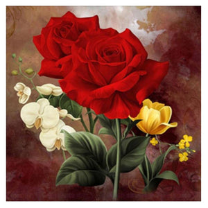 Red Rose Flower Round Drill Diamond Painting 25X25CM(Canvas)