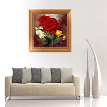 Load image into Gallery viewer, Red Rose Flower Round Drill Diamond Painting 25X25CM(Canvas)