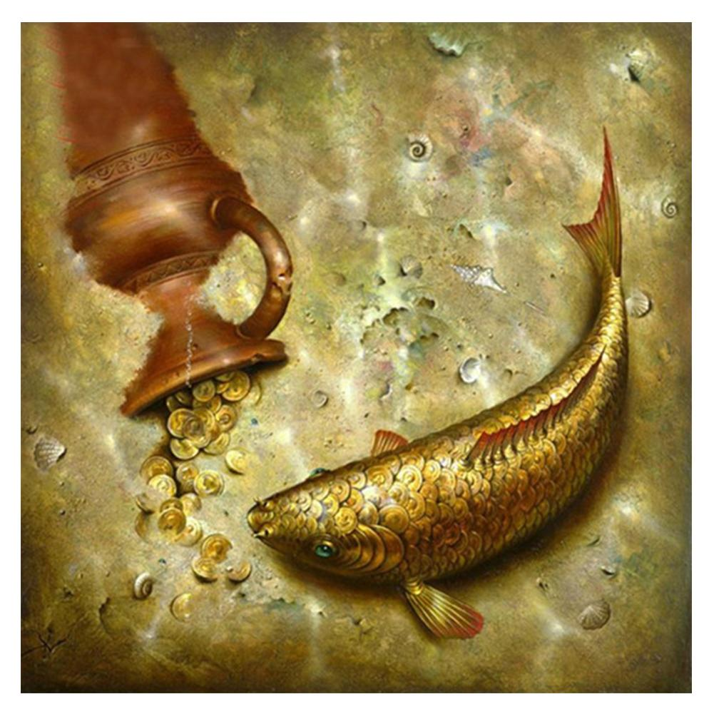 Fish Round Drill Diamond Painting 30X30CM(Canvas)