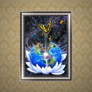 Global Butterfly Part Drill Diamond Painting 30X40CM(Canvas)