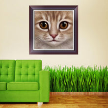 Load image into Gallery viewer, Cat Face Round Drill Diamond Painting 25X25CM(Canvas)