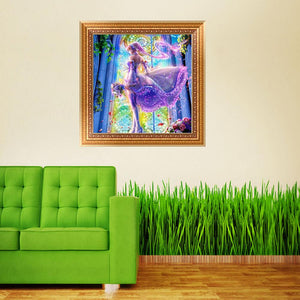 Beauty Angel Round Drill Diamond Painting 35X35CM(Canvas)
