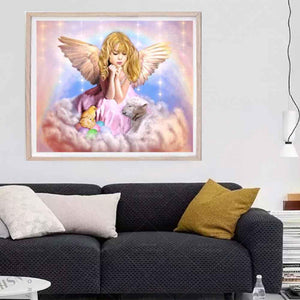 Prayer Angel Part Drill Diamond Painting 30X25CM(Canvas)