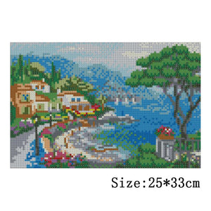 Seaside Round Full Drill Diamond Painting 25X33CM(Canvas)