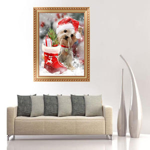 Dog Christmas Xmas Round Drill Diamond Painting 30X40CM(Canvas)