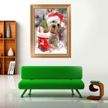 Load image into Gallery viewer, Dog Christmas Xmas Round Drill Diamond Painting 30X40CM(Canvas)