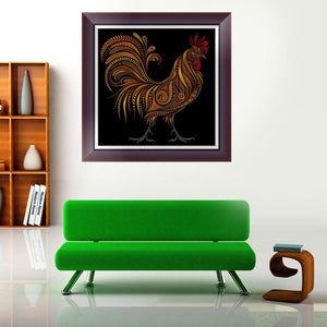 Cock Animals Round Drill Diamond Painting 30X30CM(Canvas)