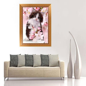 Flower Cat Round Drill Diamond Painting 30X40CM(Canvas)