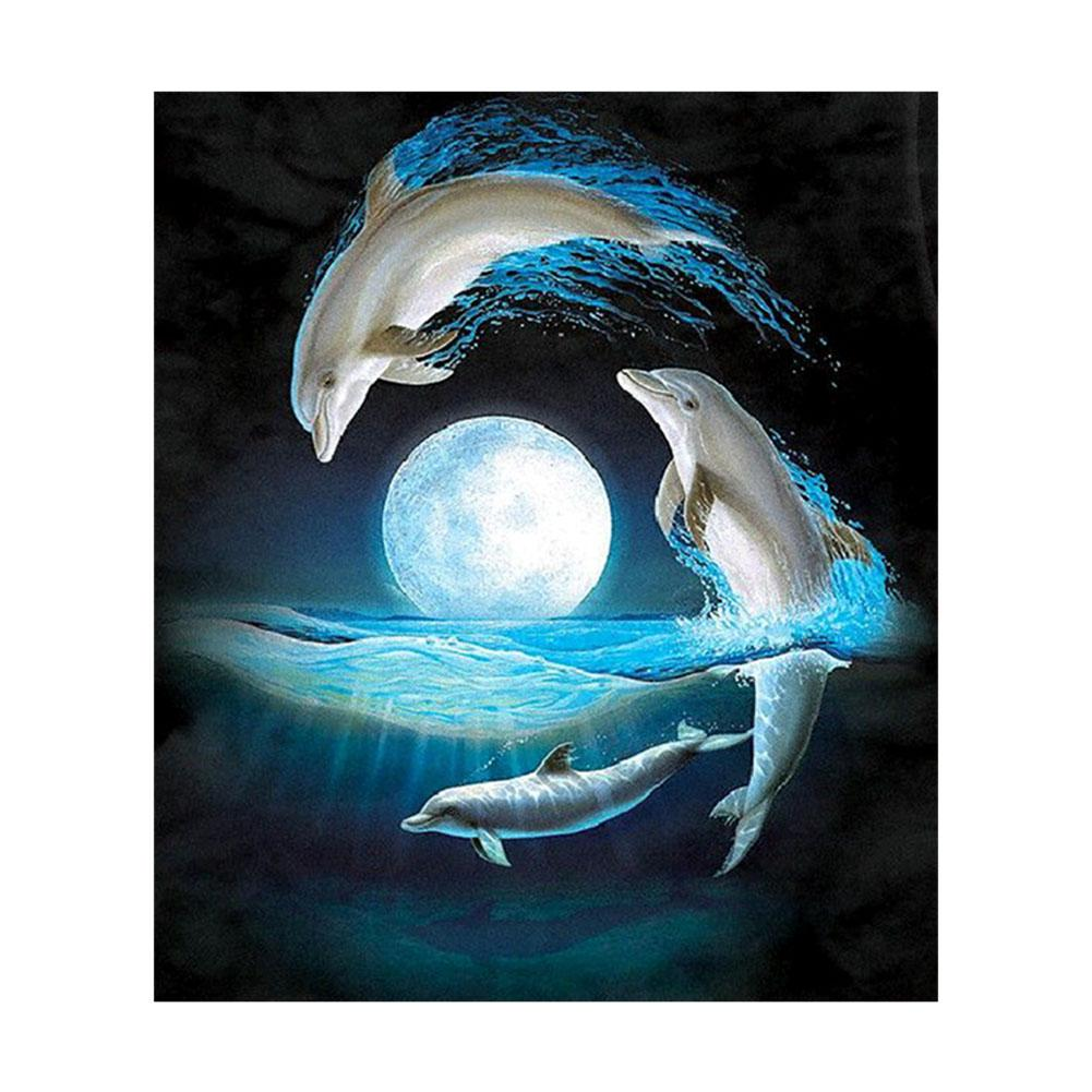 Dolphin Square Drill Diamond Painting 30X34CM(Canvas)