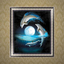 Load image into Gallery viewer, Dolphin Square Drill Diamond Painting 30X34CM(Canvas)