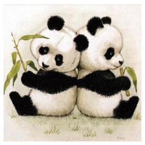 Lovely Panda Round Drill Diamond Painting 30X30CM(Canvas)