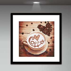 Coffee Round Full Drill Diamond Painting 30X30CM(Canvas)
