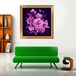 Pink Flower Round Drill Diamond Painting 30X30CM(Canvas)