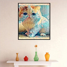 Load image into Gallery viewer, Cat Round Drill Diamond Painting 33X25CM(Canvas)