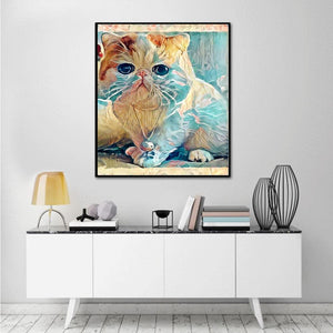 Cat Round Drill Diamond Painting 33X25CM(Canvas)