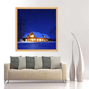 Night House Round Drill Diamond Painting 30X30CM(Canvas)